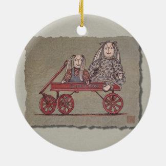Red Wagon, Rabbit & Dolls Ceramic Ornament