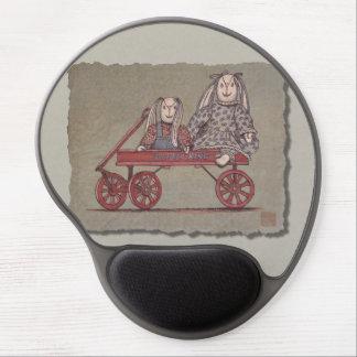 Red Wagon Rabbit Dolls Gel Mouse Pad
