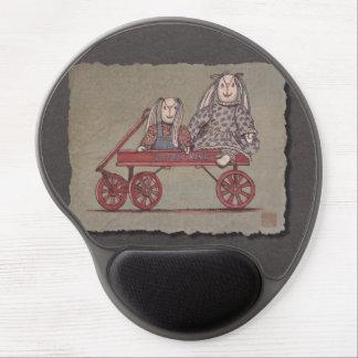 Red Wagon Rabbit Dolls Gel Mousepad