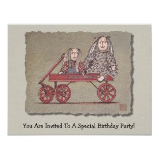 "Red Wagon, Rabbit & Dolls 4.25"" X 5.5"" Invitation Card"