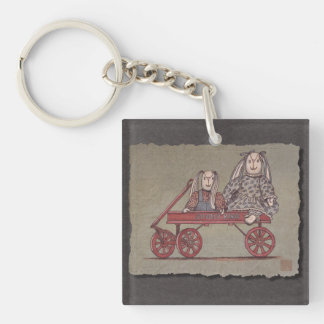 Red Wagon, Rabbit & Dolls Keychain