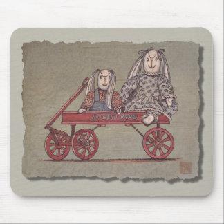 Red Wagon Rabbit Dolls Mousepads