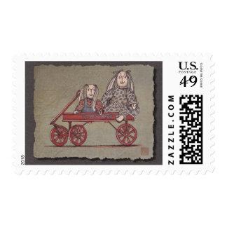 Red Wagon, Rabbit & Dolls Stamp