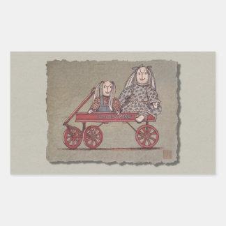 Red Wagon, Rabbit & Dolls Rectangular Sticker