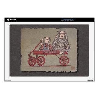 "Red Wagon, Rabbit & Dolls 17"" Laptop Skin"