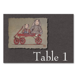Red Wagon, Rabbit & Dolls Table Cards