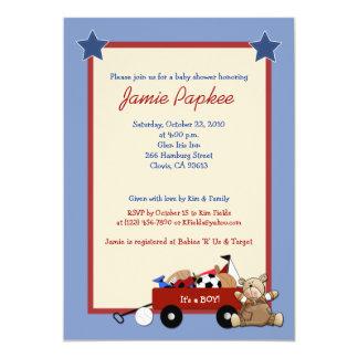 Red Wagon Teddy Bear 5x7 Sports Baby Shower Card