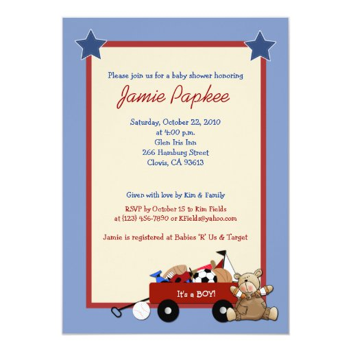 Red Wagon Teddy Bear 5x7 Sports Baby Shower Card