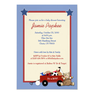 Red Wagon Teddy Bear 5x7 Sports Baby Shower 5x7 Paper Invitation Card