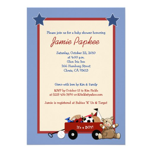 Red Wagon Teddy Bear 5x7 Sports Baby Shower Announcement