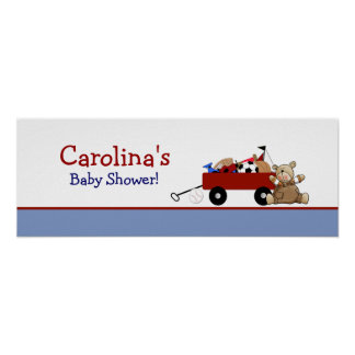 Red Wagon Teddy Bear Personalized Banner Poster