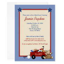 Red Wagon Teddy Bear Sports Boy Baby Shower Invitation