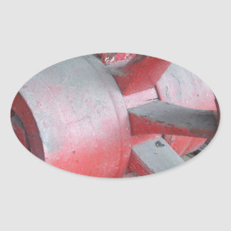 Red Wagon Wheel Oval Sticker