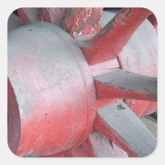 Red Wagon Wheel Square Sticker