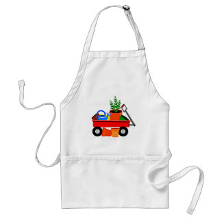 Red Wagon with Plants & Garden Tools Adult Apron