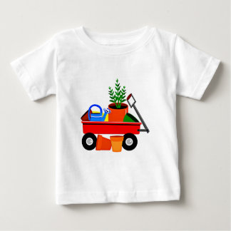 Red Wagon with Plants & Garden Tools Baby T-Shirt