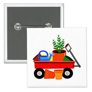 Red Wagon with Plants & Garden Tools Button