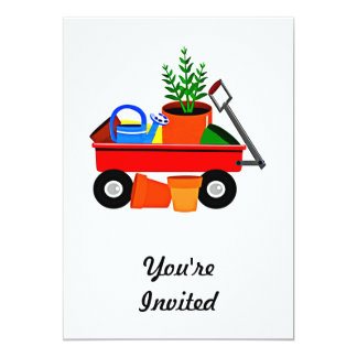Red Wagon with Plants & Garden Tools Card