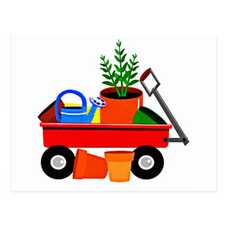 Red Wagon with Plants & Garden Tools Postcard