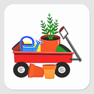 Red Wagon with Plants & Garden Tools Square Stickers