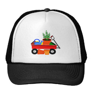 Red Wagon with Plants & Garden Tools Trucker Hat