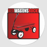 Red Wagons Rock! Classic Round Sticker