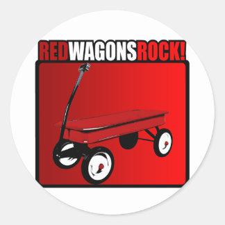 Red Wagons Rock! Classic Round Sticker
