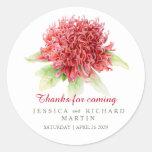 Red waratah flower art thank you wedding sticker