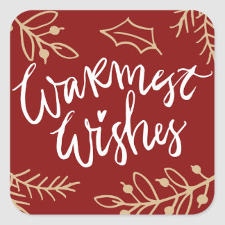 Red Warmest Wishes Calligraphy Holiday Sticker