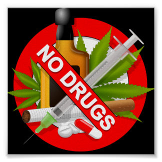 Red Warning Sign with Drugs