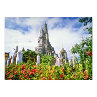 Red Wat Arun, Bangkok, Thailand flowers Personalized Invitation