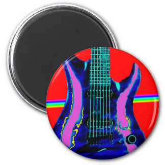 Red Water Color Guitar 2 Inch Round Magnet