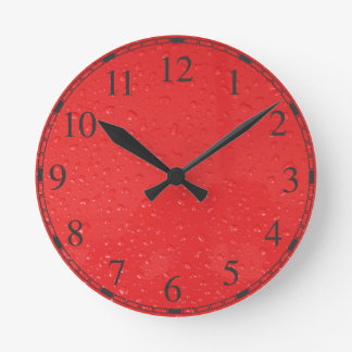 Red Water Drops Round Clock