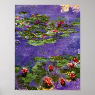 Red Water Lilies Claude Monet Fine Art Poster