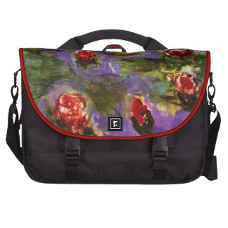 Red Water Lilies Painting Laptop Bags