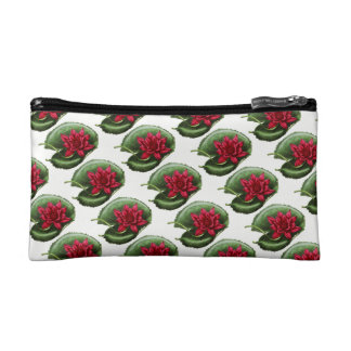 Red Water Lily Cosmetic Bag