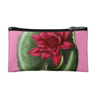 Red Water Lily Makeup Bag