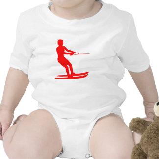 Red Water Skier Silhouette Baby Bodysuit