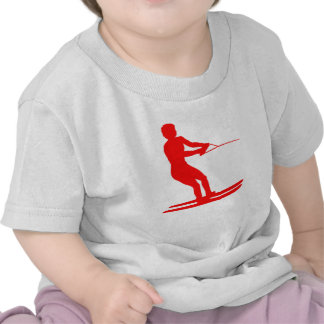 Red Water Skier Silhouette Tees