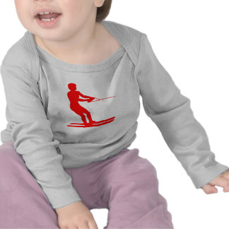 Red Water Skier Silhouette Shirt