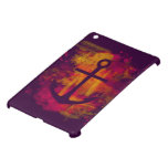 Red watercolor anchor on dark iPad mini covers