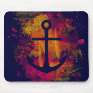 Red watercolor anchor on dark mouse pad