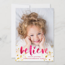Red Watercolor and Gold Believe | Photo Holiday Card