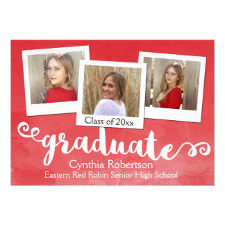 Red Watercolor Brushed 3 Photo Graduation Card