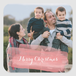 Red Watercolor Brushstroke Holiday Photo Stickers