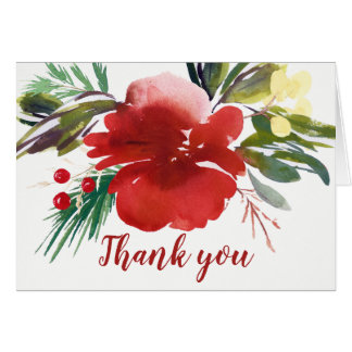 Red Watercolor Christmas Flower Thank You Card