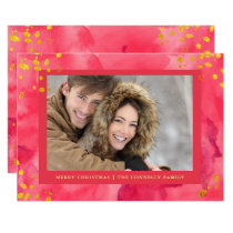 Red Watercolor Christmas with Gold | Photo Card