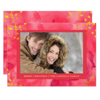 Red Watercolor Christmas with Gold   Photo Card