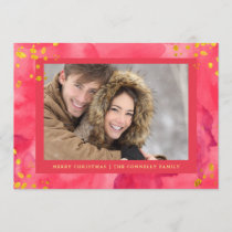 Red Watercolor Christmas with Gold | Photo Holiday Card