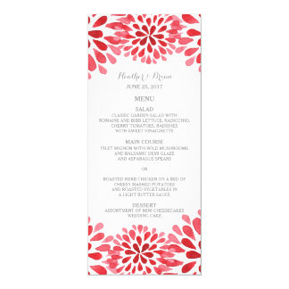 Red Watercolor Chrysanthemum Wedding Menu Card
